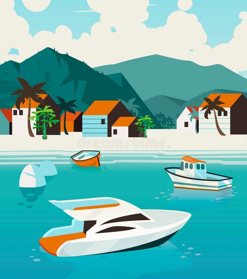 Manifesto di vacanze estive Paesaggio di estate di vettore con l'oceano, isola tropicale, navigante yacht illustrazione di stock