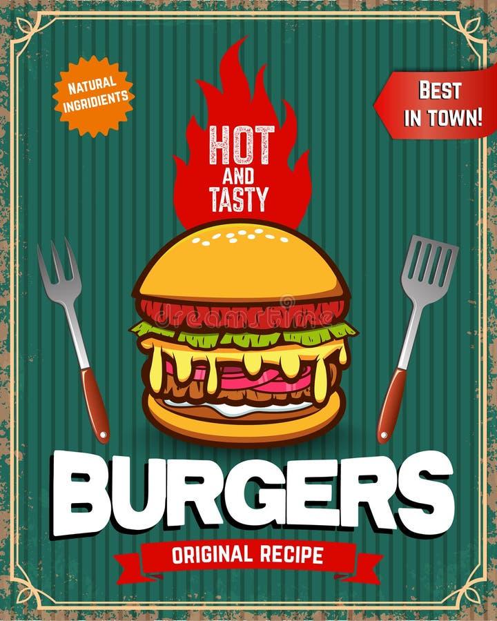 Manifesto di vecchio stile con l'hamburger Manifesto dell'annata dell'alimento Alimenti a rapida preparazione illustrazione vettoriale