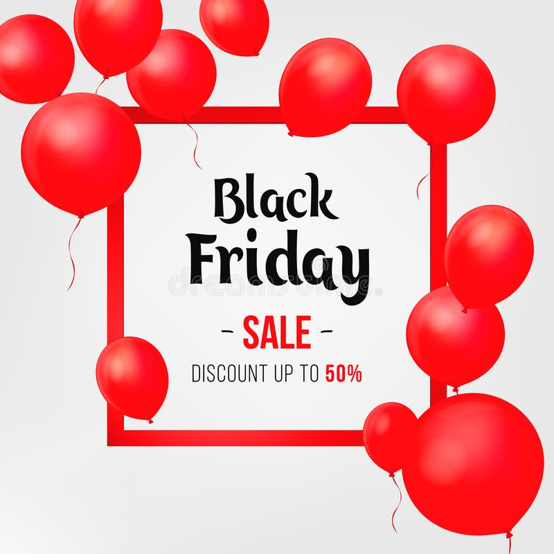 Manifesto di vendita di Black Friday con i palloni brillanti su fondo bianco illustrazione di stock
