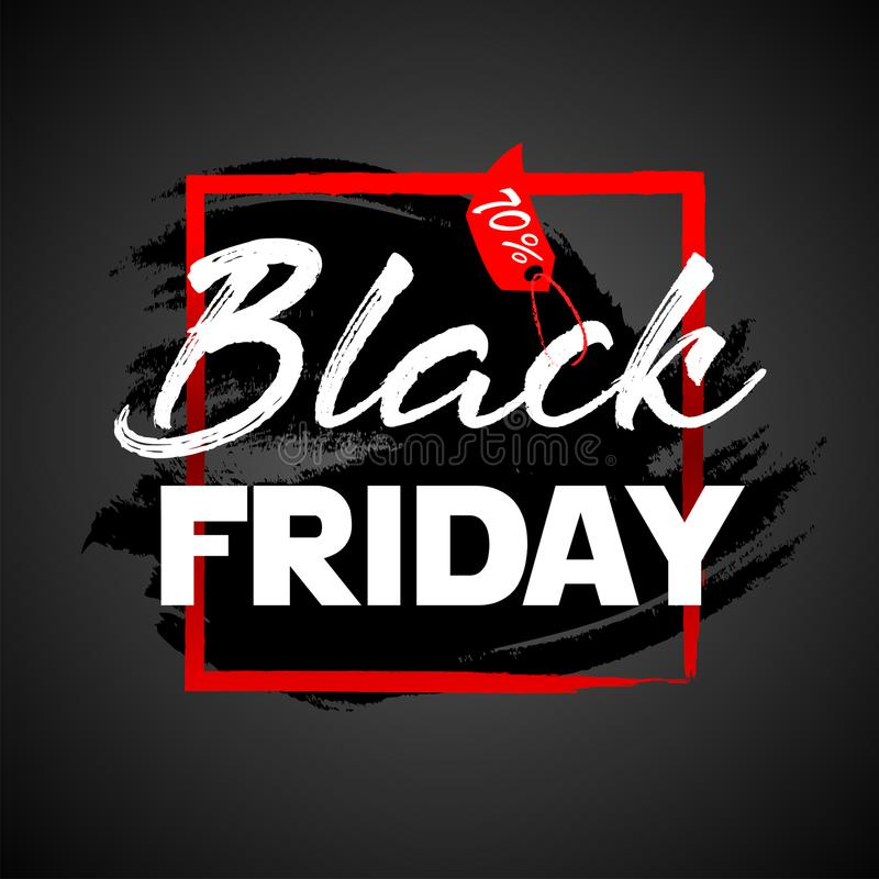 Manifesto di vendita di Black Friday Modello di progettazione dell'iscrizione di Black Friday illustrazione di stock