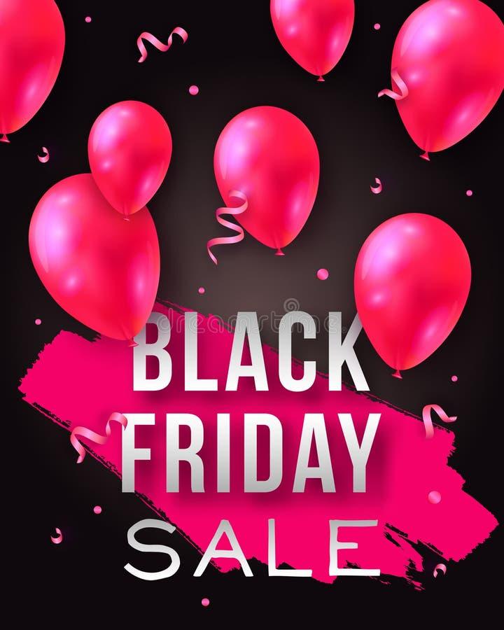Manifesto di vendita di Black Friday di vettore con i palloni ed i coriandoli brillanti Modello per la pubblicità dei manifesti,  illustrazione vettoriale