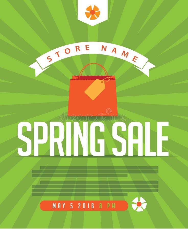 Manifesto di vendita della primavera, annuncio, insegna, progettazione della pagina Web illustrazione vettoriale
