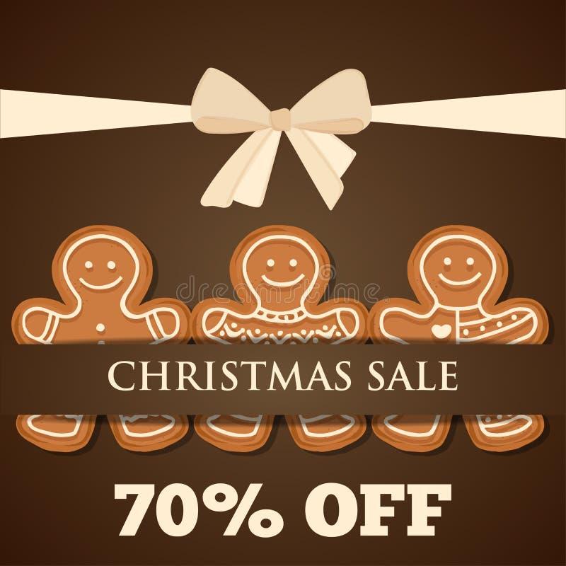 Manifesto di vendita di Natale con l'uomo di pan di zenzero illustrazione vettoriale
