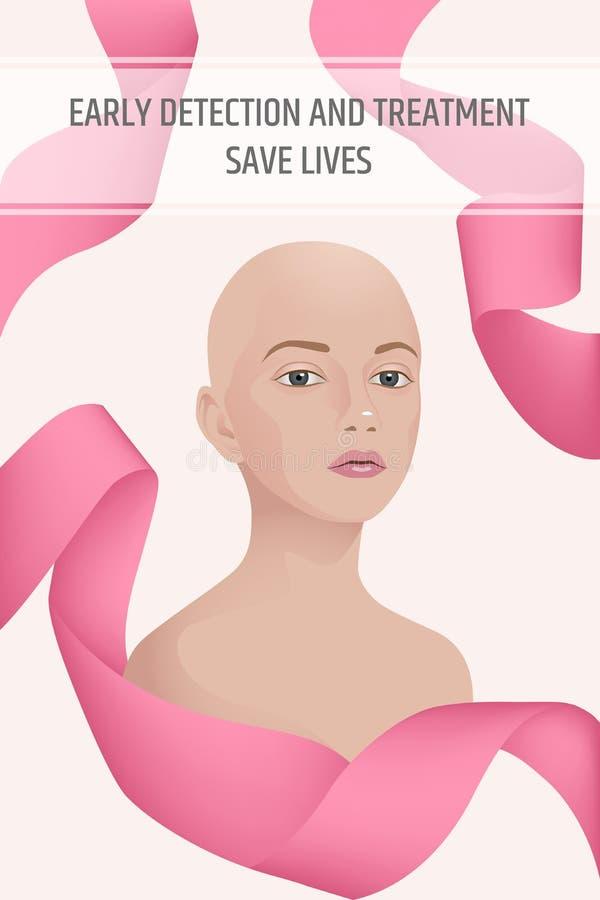 Manifesto di verticale di mese di consapevolezza del cancro al seno royalty illustrazione gratis