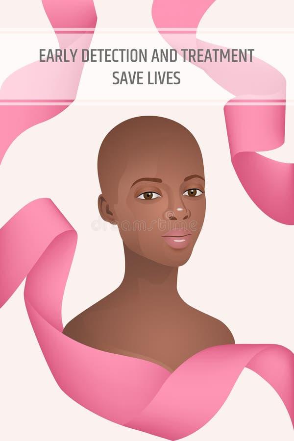 Manifesto di verticale di mese di consapevolezza del cancro al seno illustrazione vettoriale