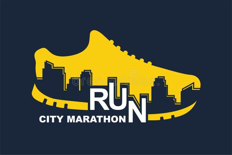 Manifesto di vettore - correre, scarpa di sport ed il profilo della città illustrazione di stock