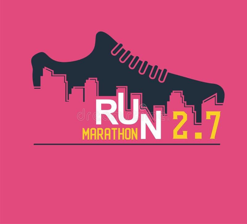 Manifesto di vettore - correre, scarpa di sport ed il profilo della città illustrazione vettoriale