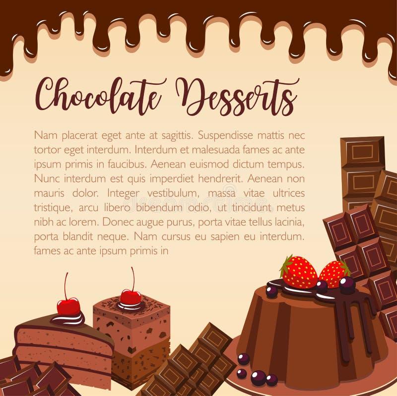 Manifesto di vettore dei dessert e dei dolci del cioccolato illustrazione di stock