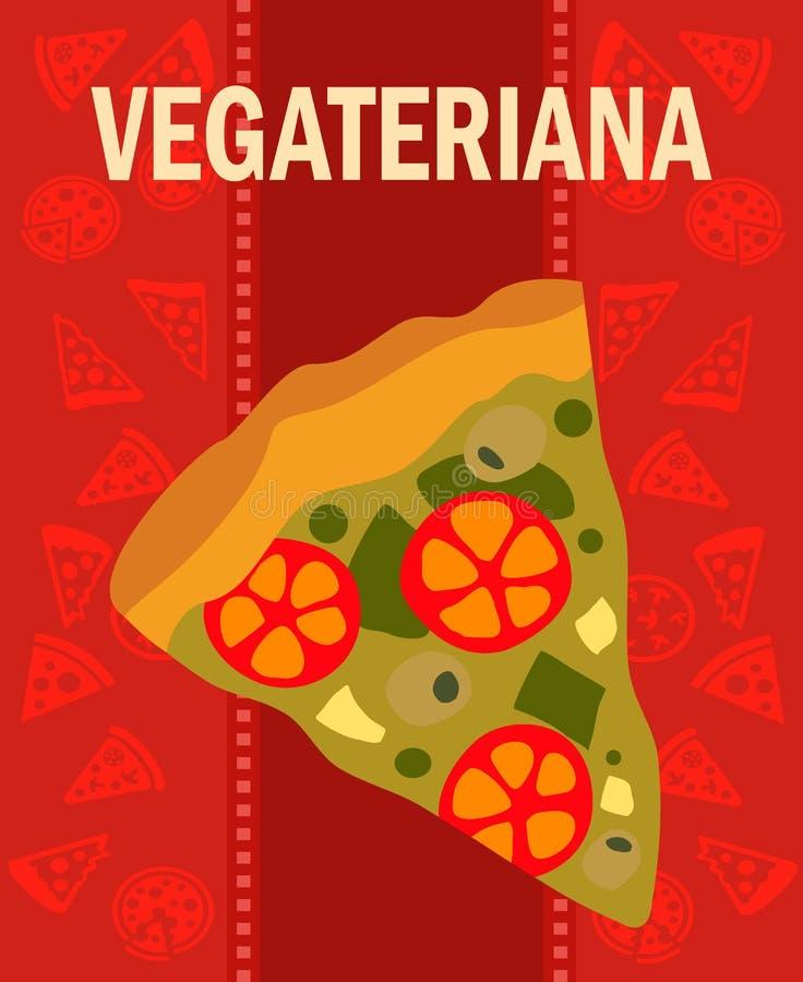 Manifesto di vettore del fumetto della fetta della pizza di Vegetariana royalty illustrazione gratis
