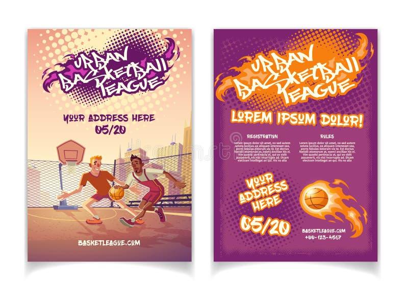 Manifesto di vettore del fumetto di torneo di pallacanestro della via royalty illustrazione gratis