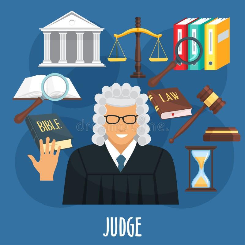 Manifesto di vettore della professione o dell'avvocatura del giudice royalty illustrazione gratis