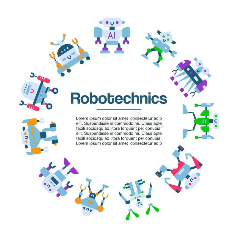 Manifesto di vettore delle icone dei giocattoli del robot Tecnologia robot della macchina Charactes del fumetto di Robocop Intell illustrazione vettoriale
