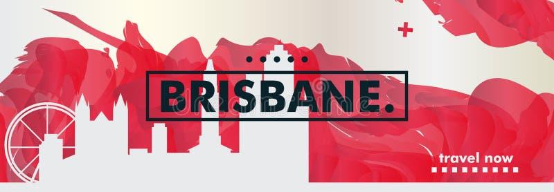 Manifesto di vettore di pendenza della città dell'orizzonte dell'Australia Brisbane illustrazione di stock
