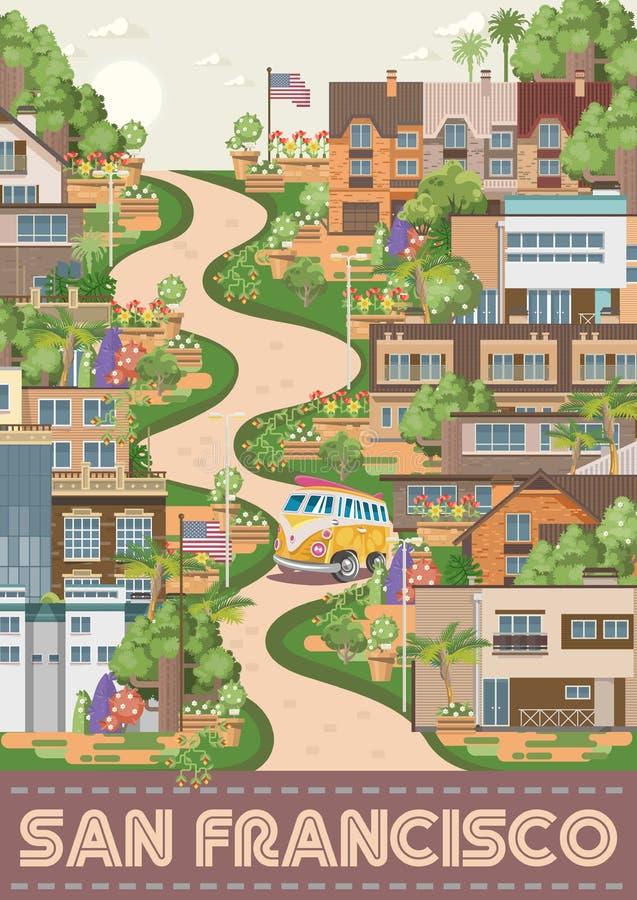 Manifesto di vettore di San Francisco Carta turistica dall'America L'insegna di viaggio di U.S.A. con la via lombarda illustrazione vettoriale