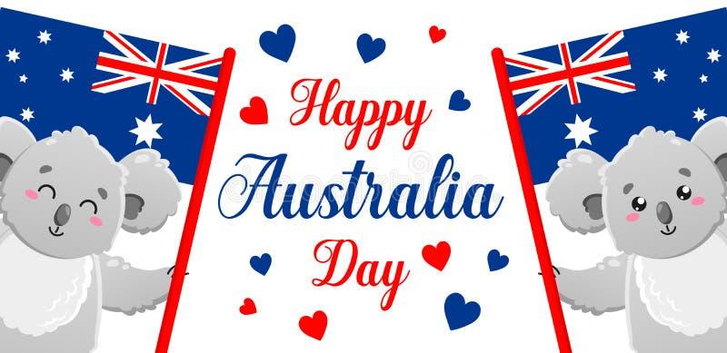Manifesto di vettore su fondo bianco Giorno felice dell'Australia Koala divertente sveglia Modello per la stampa, progettazione illustrazione di stock