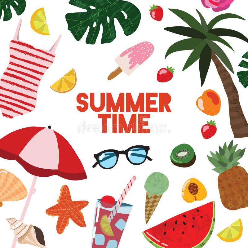 Manifesto di viaggio della carta del modello di estate del fumetto Vettore illustrazione di stock