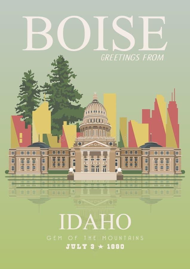 Manifesto di viaggio di vettore dell'Idaho royalty illustrazione gratis