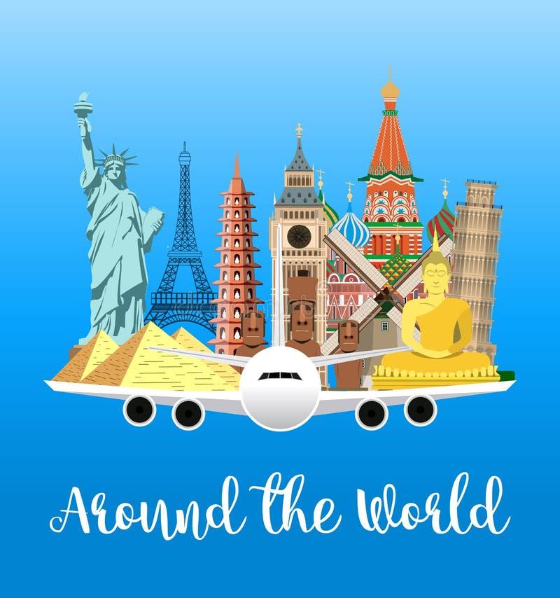 Manifesto di viaggio Esplori il mondo illustrazione vettoriale