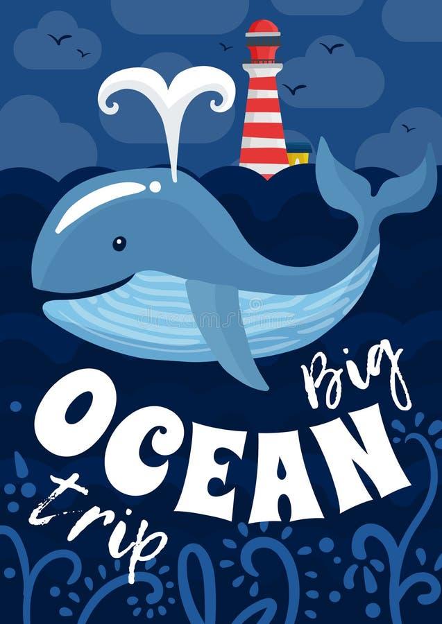 Manifesto di viaggio di oceano royalty illustrazione gratis