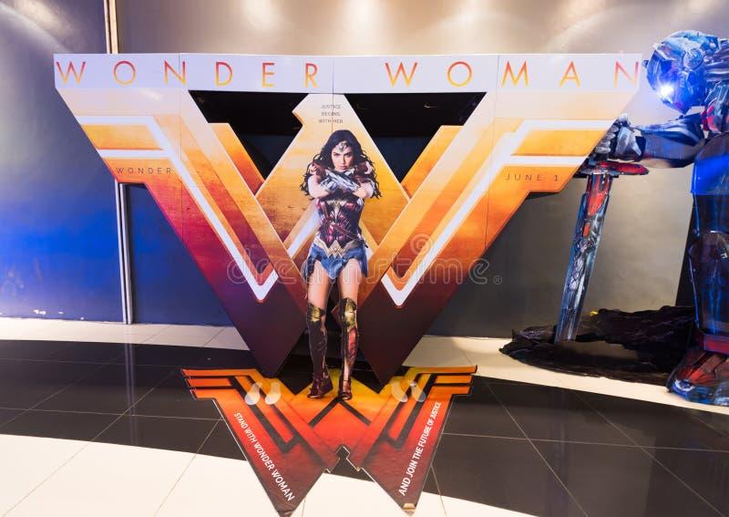 Manifesto di Wonder Woman in cinema malese immagine stock libera da diritti