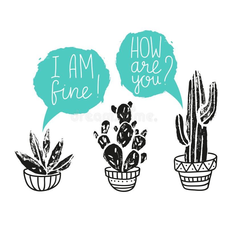 Manifesto disegnato a mano del cactus di vettore Linocuts della stampa della siluetta di lerciume illustrazione vettoriale