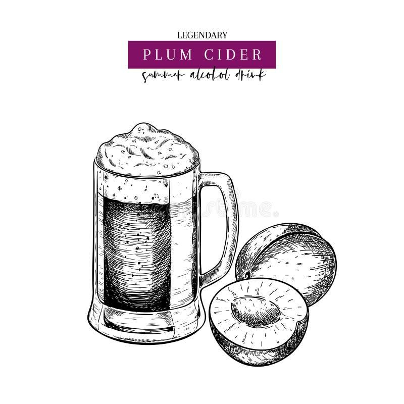 Manifesto disegnato a mano del pub di Oktoberfest Bevanda della birra del sidro della bacca della prugna Tazza di vetro di vettor illustrazione di stock
