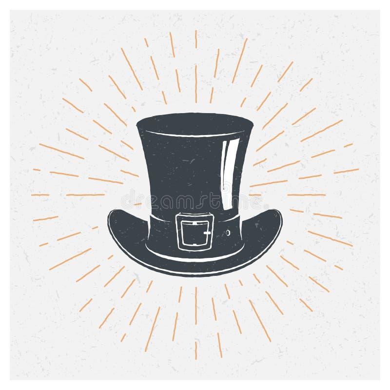 Manifesto disegnato a mano di tipografia Cappelli e cilindri di giocatore di bocce Stile dell'annata Illustrazione di vettore sig royalty illustrazione gratis
