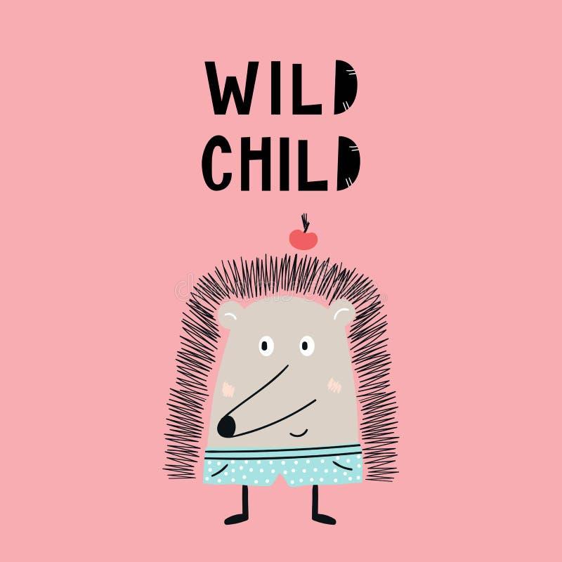 Manifesto disegnato a mano sveglio bambino selvaggio della scuola materna con l'animale dell'istrice e l'iscrizione disegnata a m illustrazione vettoriale
