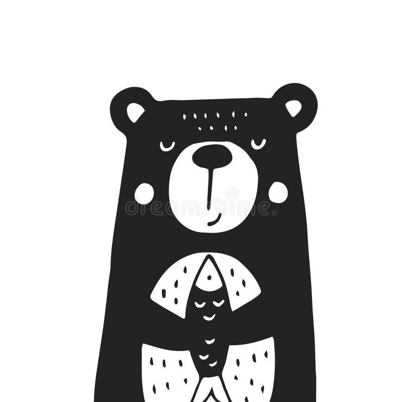 Manifesto disegnato a mano sveglio della scuola materna con l'orso nello stile scandinavo Illustrazione monocromatica di vettore royalty illustrazione gratis