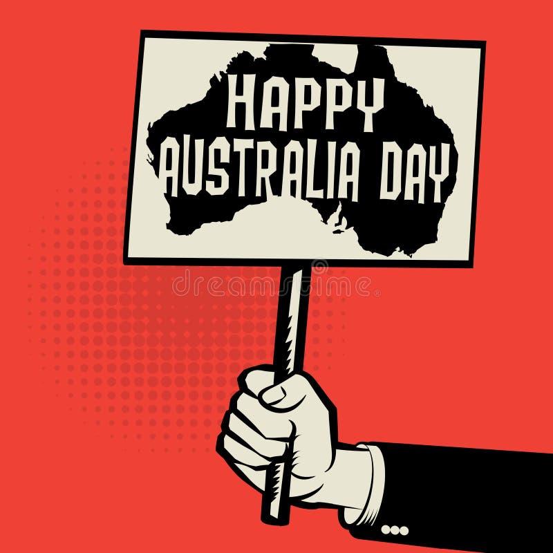 Manifesto a disposizione, concetto di affari con il giorno felice dell'Australia del testo illustrazione vettoriale