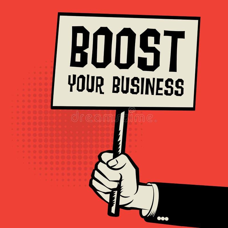 Manifesto a disposizione, concetto di affari con spinta del testo il vostro affare illustrazione di stock