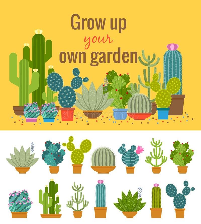 Manifesto domestico del giardino del cactus illustrazione vettoriale