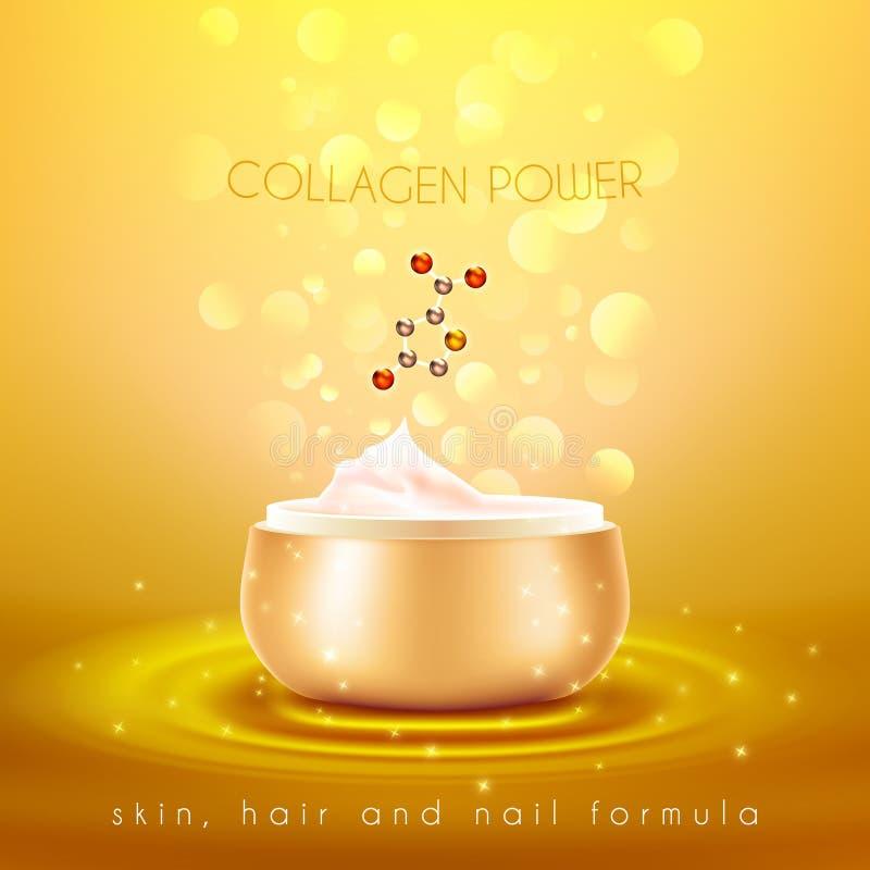 Manifesto dorato del fondo della crema di pelle del collagene illustrazione vettoriale