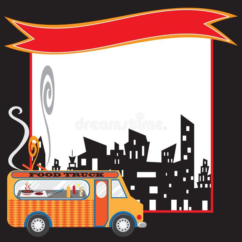 Manifesto e bandiera del camion dell'alimento illustrazione vettoriale