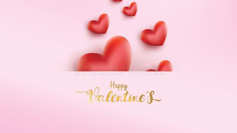 Manifesto ed insegna con cuore ed iscrizione Valentine Day felice su fondo rosa Concetto di amore della carta da parati per il gi illustrazione vettoriale