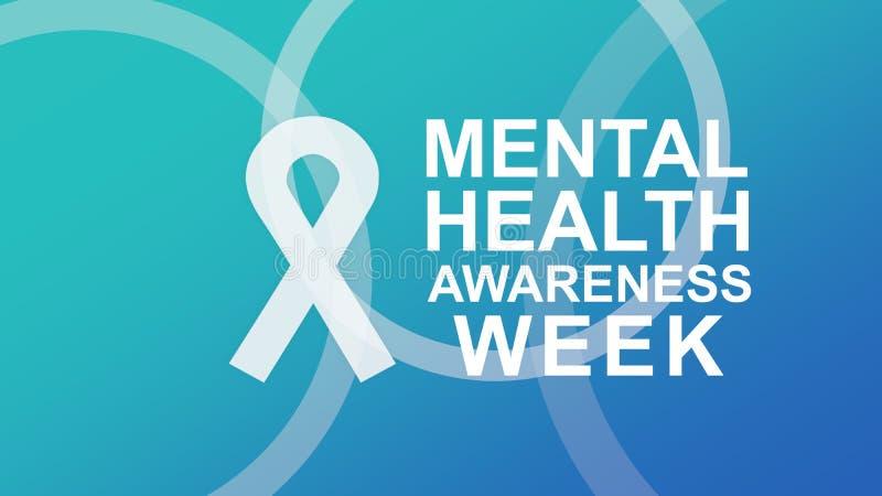 Manifesto ed insegna di settimana di consapevolezza di salute mentale, evidenzianti consapevolezza della salute mentale illustrazione di stock