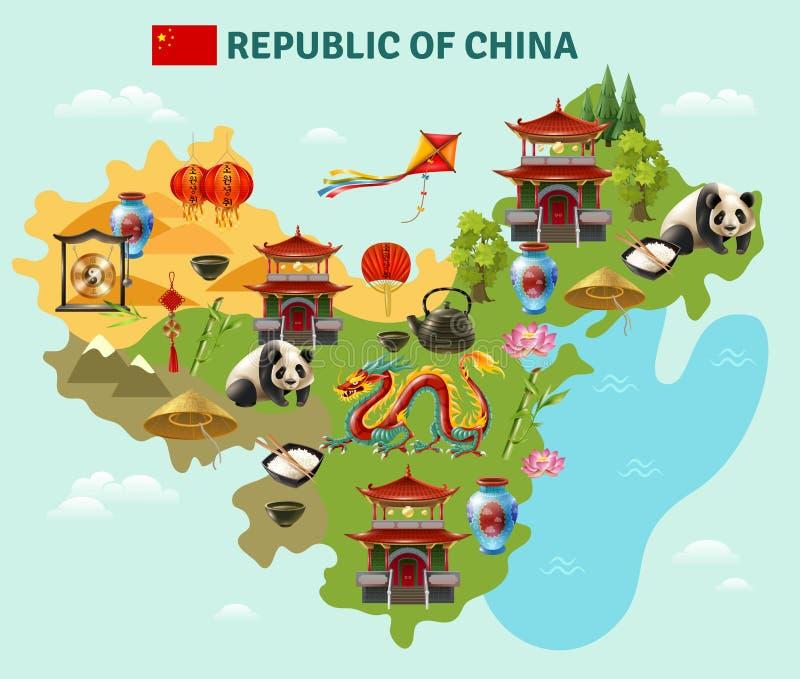 Manifesto facente un giro turistico della mappa di viaggio della Cina illustrazione vettoriale