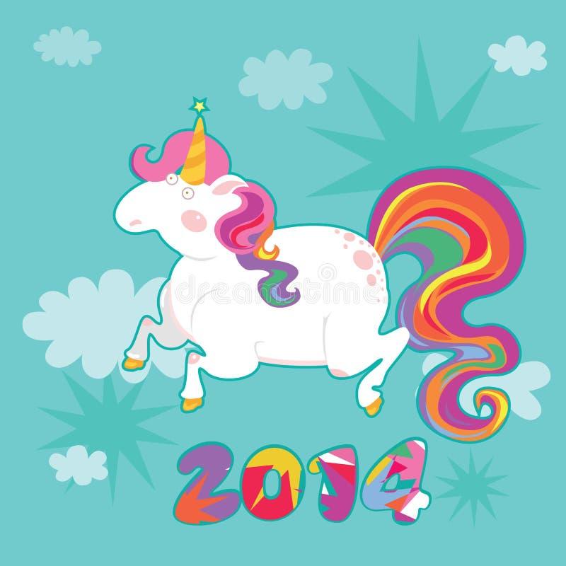 Manifesto fantastico del nuovo anno dell'unicorno illustrazione di stock