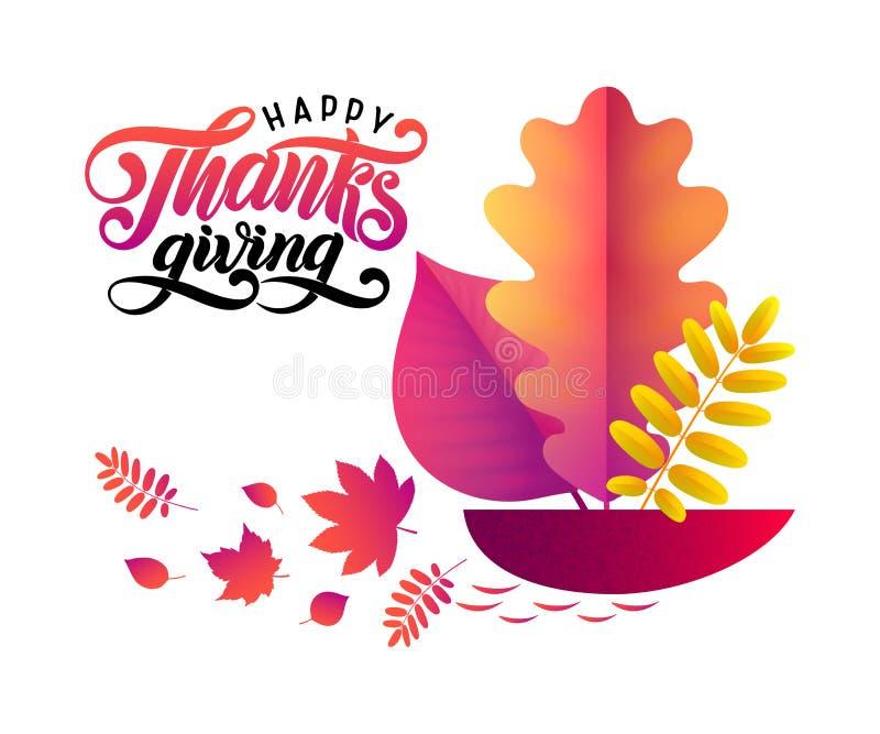 Manifesto felice d'iscrizione disegnato a mano di tipografia di ringraziamento del testo di vettore con le foglie cadute in nave  royalty illustrazione gratis