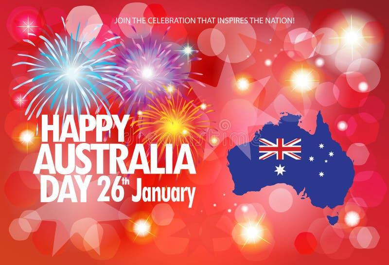 Manifesto felice dei fuochi d'artificio di saluto di giorno dell'Australia illustrazione di stock