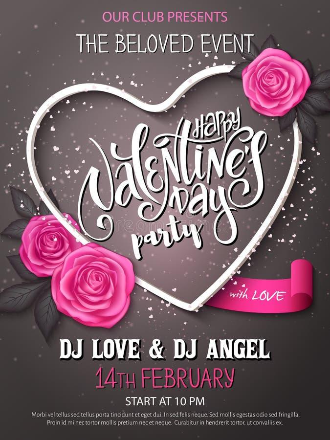 Manifesto felice del partito di giorno di biglietti di S. Valentino di vettore con iscrizione, i germogli rosa e la struttura del illustrazione vettoriale
