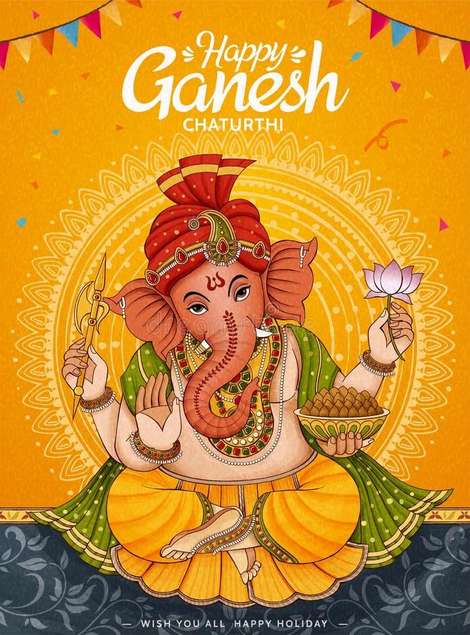 Manifesto felice di Ganesh Chaturthi illustrazione vettoriale