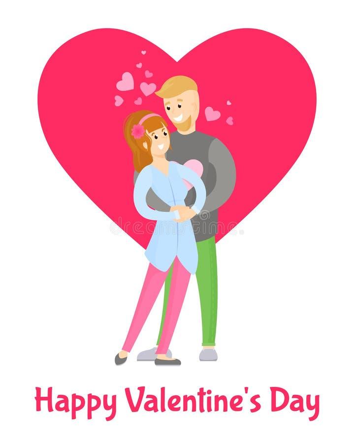 Manifesto felice di giorno di biglietti di S. Valentino con l'abbraccio della ragazza e del ragazzo royalty illustrazione gratis