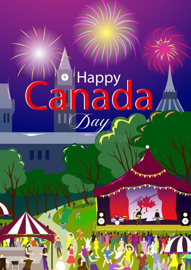 Manifesto felice di giorno del Canada Illustrazione di vettore Parco di Ottawa, festival di festa La gente su priorità alta e fas illustrazione di stock