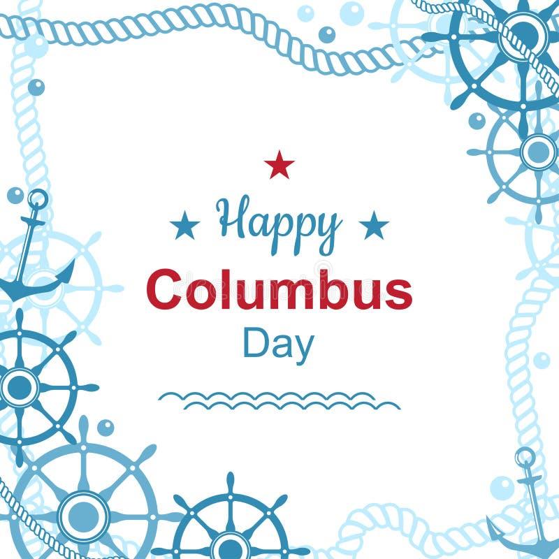 Manifesto felice di giorno di Colombo illustrazione di stock