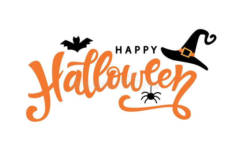 Manifesto felice di tipografia di Halloween con il testo scritto a mano di calligrafia illustrazione di stock