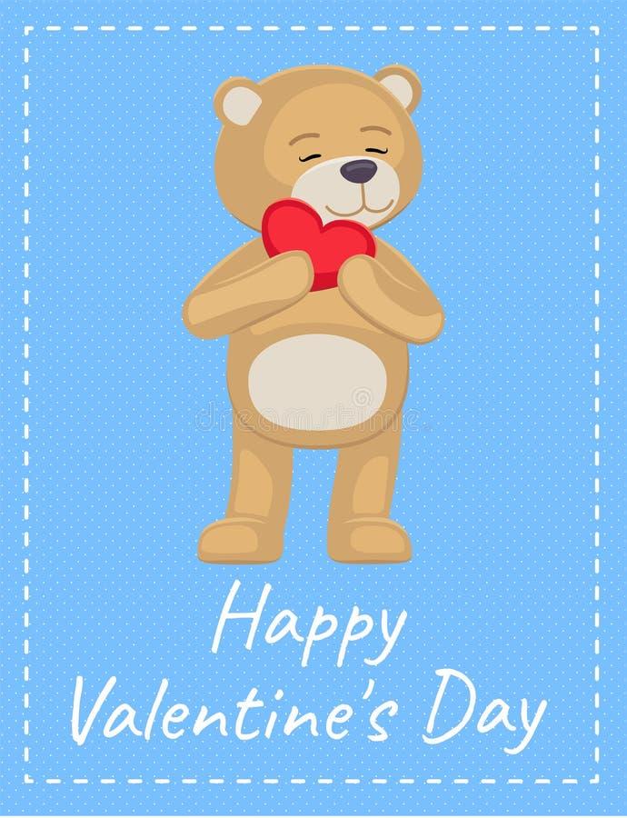 Manifesto felice Teddy Heart adorabile di giorno di biglietti di S. Valentino royalty illustrazione gratis