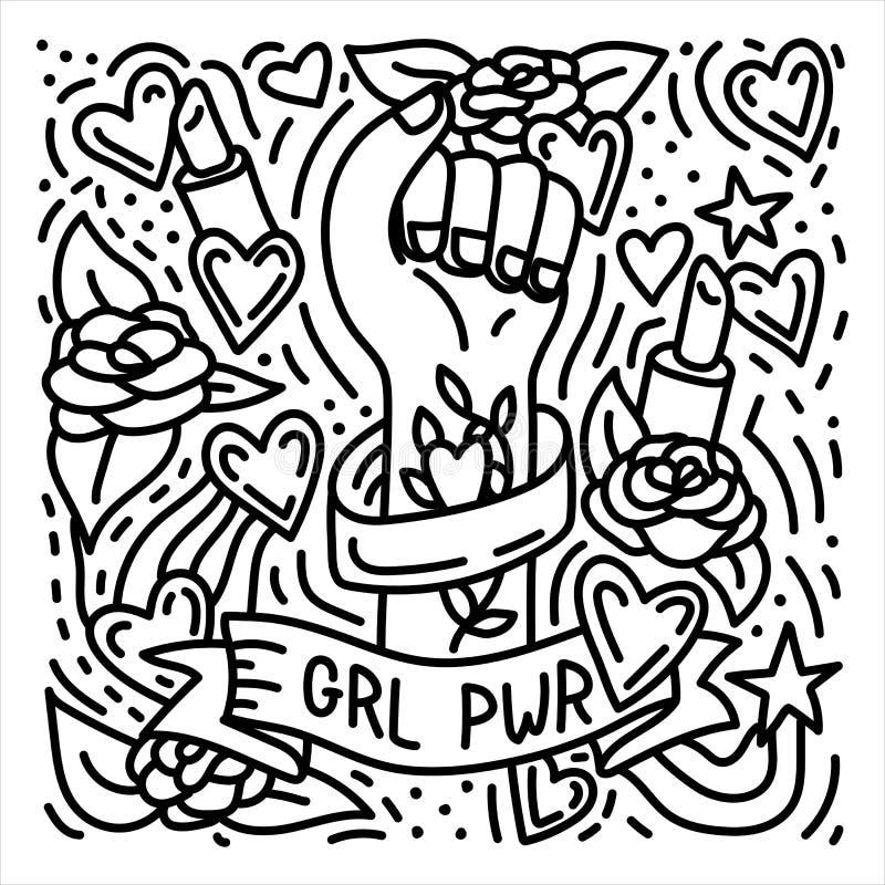 Manifesto femminista di scarabocchio disegnato a mano di potere della ragazza con il pugno del ` s della donna illustrazione vettoriale