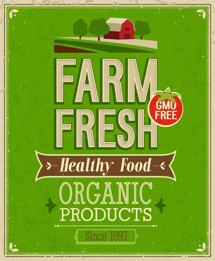 Manifesto fresco dell'azienda agricola d'annata. illustrazione vettoriale