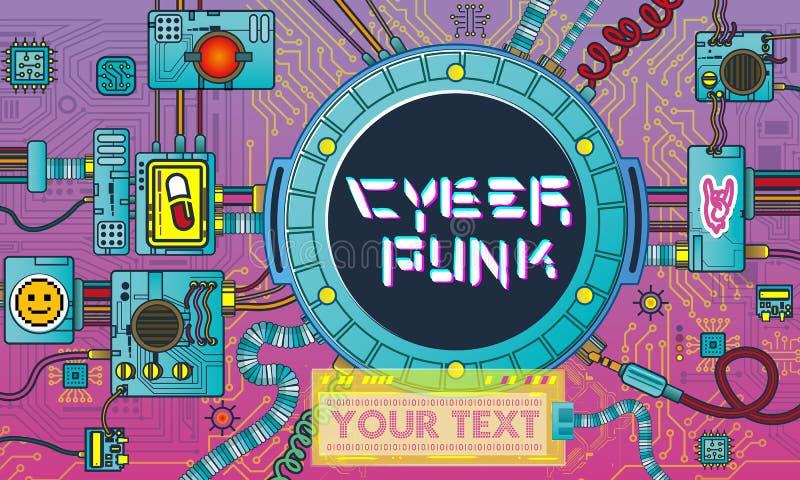 Manifesto futuristico di Cyberpunk con l'aletta di filatoio moderna del retro dei giochi degli elementi di tecnologia modello ast royalty illustrazione gratis